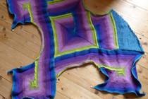 slip stitch crochet shawl in progress